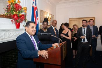 Lord Ahmad addressing attendees at a reception at BVI House London. Photo: GIS