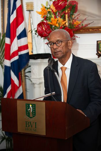 Premier Smith pictured as he addresses attendees at the reception at the BVI House London. Photo: GIS