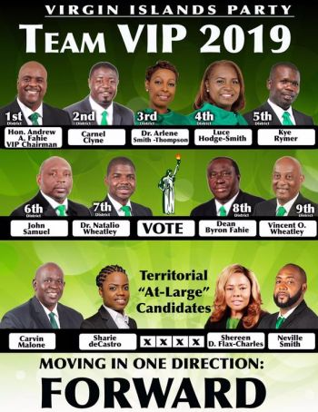 """According to Hon Fahie, the party now has, """"A team where each of the thirteen members can adequately represent the people of the Virgin Islands locally, regionally, and internationally."""" Photo: Facebook"""