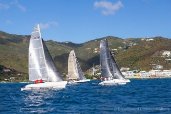 A beautiful morning greeted 11 competitors and delivered champagne sailing throughout the anti-clockwise around Tortola course on January 13, 2019, in the Virgin Islands. Photo: RBVIYC