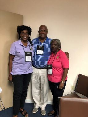 Ms Stoutt-Igwe and Ms Juliette Penn with Former Member of Parliament in St Kitts-Nevis, Mr Cedric Liburd, who also observed the Elections. Photo: GIS