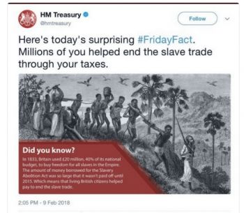 The 'troubling and distasteful' tweet was made by the United Kingdom Treasury on February 9, 2018. After it was met with outrage from the public, it was subsequently deleted. Photo: UK Guardian