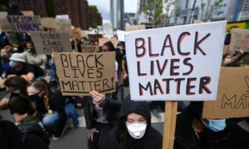 A Black Lives Matter protest outside the US embassy in London last summer. Photo: Andy Rain/EPA