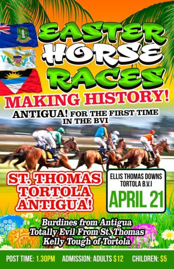 The flyer for the 2019 Easter Races at Ellis Thomas Downs in Sea Cows Bay on April 21, 2019. Photo: Facebook