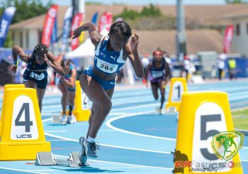 Akrisa Eristee clocked 54.10 to take silver in the Under 17 Girls 400m at the 48th Carifta Games in the Cayman Islands on April 20, 2019. Photo: BVIAA/Facebook