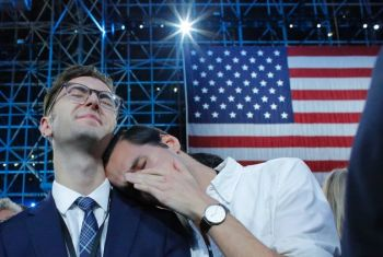 Hillary R. Clinton's supporters in tears. Photo: Getty Images