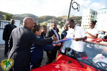 The Sitting of the House of Assembly on April 26, 2019 was put on pause to allow Members to personally honour the 2019 Virgin Islands Carifta Games team during a motorcade. Photo: Facebook
