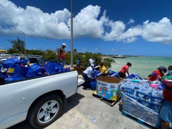 Government sponsored food packages were also delivered to the sister islands, including Anegada. Photo: Team of Reporters