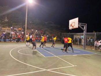 Ice Connection and Lace Up battling it out in the Winston Jagpat Memorial Basketball League at the North Sound Basketball Court in Virgin Gorda on Saturday, February 1, 2020. Team of Reporters