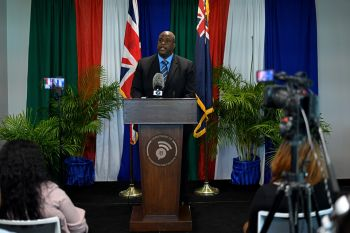 Yesterday Tuesday, May 7, 2019, at a press conference at the BVI Arbitration Centre in Wickham's Cay II, Premier and Minister of Finance Hon Andrew A. Fahie (R1) announced a series of requirements for the regularisation programme and that applications will begin May 13, 2019. Photo: GIS