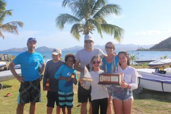 The various winners at the BVI Dinghy Championships at Nanny Cay on May 18, 2019 pose with their trophies. Photo: RBVIYC