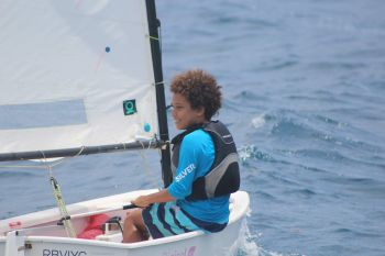 Ethan George competing in the Optimist Green fleet at the BVI Dinghy Championships at Nanny Cay on May 18, 2019. Photo: RBVIYC