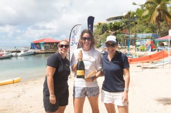 The 1-Mile Swim attracted 29 swimmers but it was Natasha Ruscheinski (centre) who came out number one. Ruscheincki completed the distance in 34:02.6 and also won the Corporate Challenge, representing Deloitte. Photo: VISAR