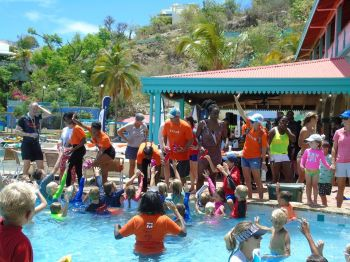 Children engaged in some pool fun at Swim and SUP the Sound 2019. Photo: VISAR