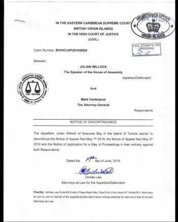 According to court documents seen by Virgin Islands News Online (VINO), in an application filed June 17, 2019, via a Notice of Discontinuance issued to the Eastern Caribbean Supreme Court of the Virgin Islands, between the Speaker and Mr Vanterpool the Speaker has moved to officially end the appeal thereby, honouring the ruling handed down by Justice Ann-Marie Smith on May 2, 2019, which ordered among other things that HoA Member-elect, Mr Vanterpool be sworn into the House. Photo: Team of Reporters