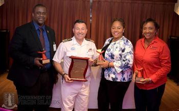 From left: Premier and Minister of Finance Hon Andrew A. Fahie (R1); Carnival Sunrise Captain, Mr Isidoro Renda; Junior Minister for Tourism Hon Shereen D. Flax-Charles (AL), and Director of Operations at ROMASCO Group, Patricia M. Romney. Photo: GIS
