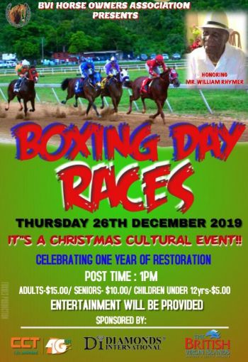 The flyer for the Boxing Day horse races at Ellis Thomas Downs in Sea Cows Bay, Tortola. Photo: Facebook