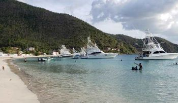 The photo posted by Delker H. Vardilos on the Facebook page, BVI Community Board, about boats anchoring very close to the shore at Cane Garden Bay on July 6, 2019 Photo: Facebook.