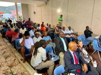 The agriculture and fisheries stakeholders meeting on Thursday August 15, 2019 at the Breezeway of the Central Administration Complex on Wickham's Cay I, Tortola, was well attended. Photo: Facebook
