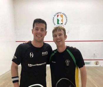 The Virgin Islands campaign at the Caribbean Area Squash Association (CASA) Senior Championships in Guyana has so been led by the experienced Joe Chapman, right, who finished third in the Men's event and was the lone player to taste victory in the team event that started yesterday, August 21, 2019 at the Georgetown Club in the capital city, Georgetown. Photo: Facebook