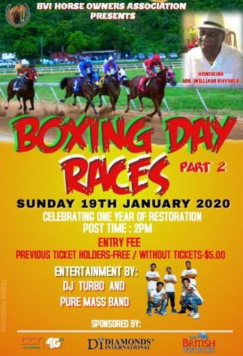 The flyer for the Boxing Day Races- Part 2 at Ellis Thomas Downs in Sea Cows Bay, Tortola on January 19, 2020. Photo: Facebook