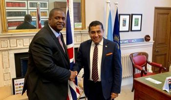 Premier and Minister of Finance Honourable Andrew A. Fahie (R1), left, met with Minister of State at the Foreign and Commonwealth Office, Lord (Tariq M.) Ahmad, right, to discuss the Virgin Islands/United Kingdom relationship and the Loan Guarantee. Photo: Facebook