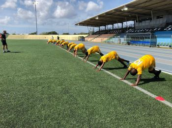 The Senior Virgin Islands Football Team at a training session in Curacao on September 5, 2019. Photo: BVIFA/Facebook