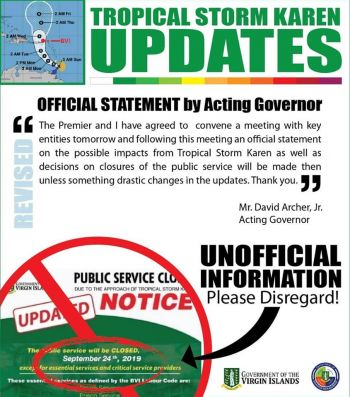 It was observed today, September 22, 2019 that a notice was being circulating on social media about the public service being closed on Tuesday. This has since been labeled as false by the Department of Disaster Management and the Acting Governor, David D. Archer. Photo: DDM/Facebook