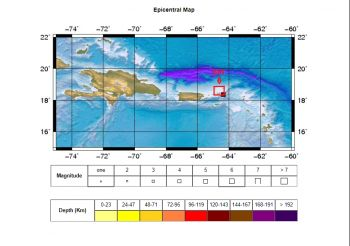 The epicentre of the 4.14 earthquake that occurred on October 10, 2019 at 11:45pm, was located at latitude 18.37 North, longitude 64.34 West or approximately 8.5 miles Southeast of Virgin Gorda, Virgin Islands, at a depth of 80 miles. Image: DDM