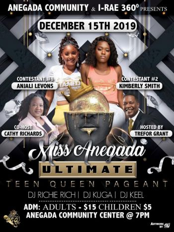 The flyer for the Miss Anegada Ultimate Teen Queen pageant. Photo: Facebook