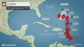 Tropical storm warnings were issued for Puerto Rico and the United States and British Virgin Islands Today, September 23, 2019, as Tropical Storm Karen moved northwest through the Caribbean Sea. Photo: AccuWeather