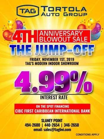The flyer for Tortola Auto Group's 4th Anniversary Blowout Sales Event. Photo: TAG/Facebook