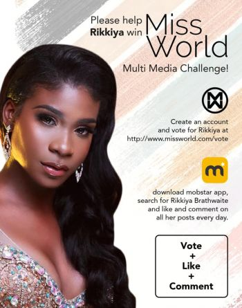 The people of the Virgin Islands can play their part in Rikkiya A. R. Brathwaite's dream run at Miss World 2019 by voting for her in the Multi-Media Challenge. Photo: Facebook