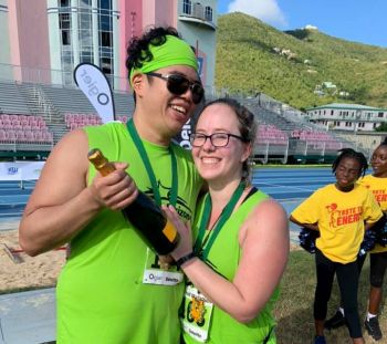 Visiting runner Chris Cabatbat of Winnipeg, Canada, engaged his girlfriend Brittany Gaultois after they crossed the line holding hands and flashing smiles in 2 hrs 41 minutes and 32 seconds—the first engagement in BVI half Marathon history. Photo: BVIAA
