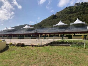 Since the 2017 hurricanes caused major damage at Ellis Thomas Downs, the grand stand has been bare of any type of covering, except for the occasional tents placed in strategic locations for patrons by the association. Photo: Facebook
