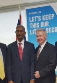 From left: Chief lobbyist of BVI Airways Dr The Hon D. Orlando Smith (AL) and President and CEO of BVI Airways, Jerry D. Willoughby. Photo: VINO/File