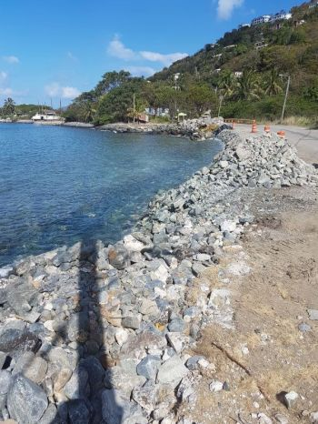 The Cane Garden Bay Revetment Project will span some 129 meters of shoreline. Photo: VINO