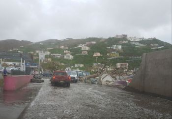 Flash flood in Road Town due to heavy rains earlier this week. Photo: VINO