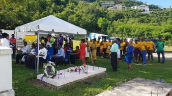 The wreath laying ceremony at the grave of the Territory's first Chief Minister, Mr H. Lavity Stoutt on March 2, 2020. Photo: VINO