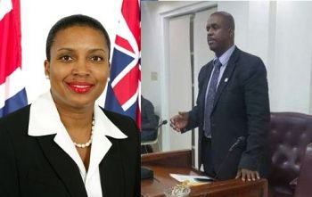 The Speaker of Parliament, Hon Ingrid A. Moses, left, advised the Opposition Leader Hon Andrew A. Fahie (R1), right, to move on in the House of Assembly since the Minister for Communications and Works was not present, to which Hon Fahie, asked: if 'he had fly away with BVI Airways?'. Photo: VINO/GIS