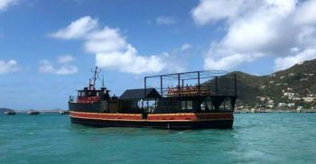 Willy T, a floating restaurant and bar, was kicked out from the south-west of the Bight at Norman Island upon its return to the Territory after it was completely destroyed by the powerful winds of Hurricane Irma in September 2017 but was replaced by a another vessel. Photo: VINO/File