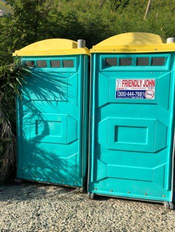 The temporary restrooms in place at the West End port of entry. Photo: VINO/File