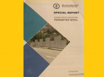 The wall commissioned by Mr Walwyn around ESHS, costing taxpayers some $1.6M was said to be built with little regard for public resources according to the AG in her report. Photo: VINO/File