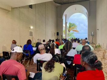 The agriculture and fisheries stakeholders meeting held on Thursday August 15, 2019 at the Breezeway of the Central Administration Complex on Wickham's Cay I, Tortola. Photo: Facebook