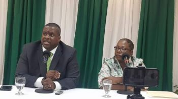 Sixth District Representative Hon Alvera Maduro-Caines (R6), right, seen with Premier and Minister of Finance, Hon Andrew A. Fahie (R1) at a press conference on, January 20, 2020, said shunning the National Democratic Party (NDP) and aligning herself with the Virgin Islands Party (VIP), was a completely independent decision, free from political offers and promises. Photo: VINO/File