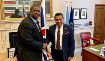 Premier and Minister of Finance Honourable Andrew A. Fahie (R1), left, met with Minister of State at the Foreign and Commonwealth Office, Lord (Tariq M.) Ahmad, right, to discuss the Virgin Islands/United Kingdom relationship and the Loan Guarantee. Photo: Facebook/File