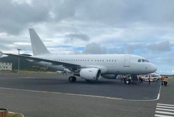 Speaking to Government Information Service (GIS) on December 20, 2019 on the occasion of the historic landing at the Terrance B. International Airport of the Titan Airways Airbus a318 that had completed a flight from Canada directly to the Virgin Islands, Premier and Minister fo Finance, Honourable Andrew A. Fahie (R1) disclosed that the BVI Airports Authority (BVIPA) was in discussions with airlines with aircrafts such as the size of the Airbus a318 to make direct flights, with possible flights from the VI to Punta Cana in the Dominican Republic and then to Miami, USA, with a direct flight on return to the VI, 'And some going from here straight to Miami and back.' Photo: Team of Reporters