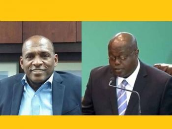 Premier and Minister of Finance Hon Andrew A. Fahie (R1), has asked Speaker of the House of Assembly (HoA) Hon Julian Willock, right, to reconsider his position and swear in Mr Mark H. Vanterpool, left, as a Member of the HoA at the next sitting. Photo: Facebook/VINO/File