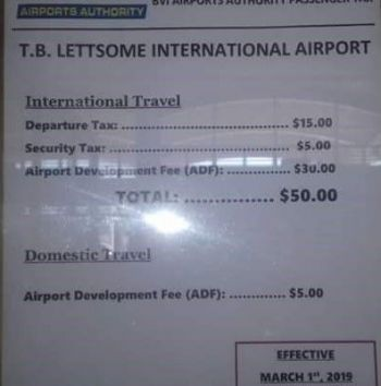 Signage at the airport outlining the fee including Security and Departure Tax. Photo: Team of Reporters/File