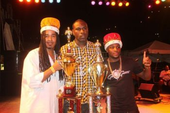 Martino 'Tino' Mark's (left) collection of music titles include Soca Power Segment winner during the kings of Soca Monarch in 2014. Photo: VINO/File